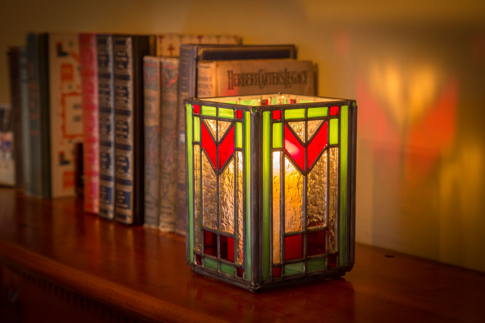 Wright Inspired Art Glass Candle Holder