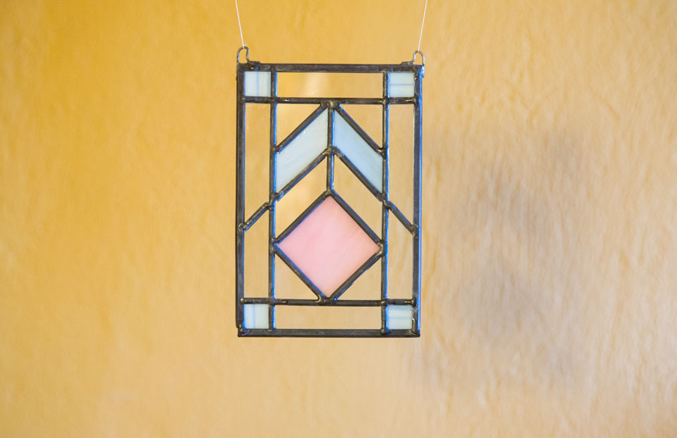Pink and Blue Spring Colored Stained Glass Panel