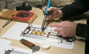 Soldering on the Stained Glass Studio Workbench